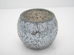 K East Star Glass Mosaic Candle Holder Grey D12 H10