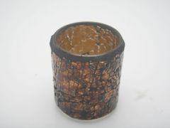 K East Star Glass Mosaic Candle Holder Amber D7.5 H8.5