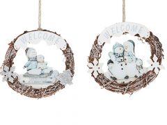K Kerstkrans Welcome Sneeuwpop 2Ass