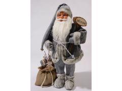 Pes Kerstman Met Welkomsbord 45Cm Grijs