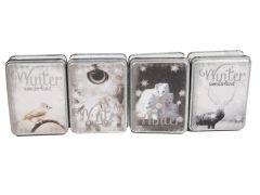 K Metalen Box Winter Wonderland 10X8X4Cm 4Ass.