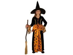 Kostuum Heks + Hoed Oranje Zwart 116