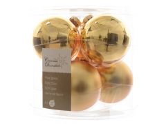 K Kerstbal Glas Glans-Mat 80Mm Licht Goud
