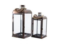 K Lantaarn Ijzer Glas Handvat Met Swingtag Brons 15X15X32Cm