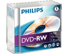 Philips Dvd-Rw 4.7Gb 4X Jc 5St
