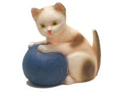 Lamp Kat Met Blauwe Bol Wol