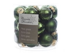 K Glass Mini Baubles Shiny-Matt Pine Green Dia2.5Cm