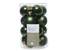 K Glass Mini Baubles Shiny-Matt Pine Green Dia3.5Cm