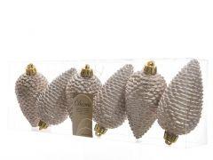 K Sh.Prf Pinecone Glit W Hanger Pearl Dia4.5X8Cm
