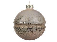 K Gl Bauble With Glitter Rim Pearl Dia8Cm