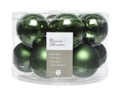K Glass Mach.Baubles Shiny-Matt Pine Green Dia5Cm