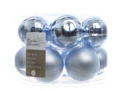 K Glass Mach.Baubles Shiny-Matt Iceblue Dia5Cm
