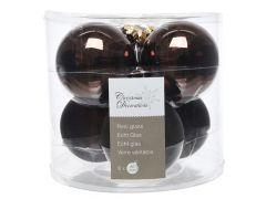 K Glass Mach.Baubles Shiny-Matt Dark Chocolate Dia8Cm
