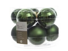 K Glass Mach.Baubles Shiny-Matt Pine Green Dia6Cm