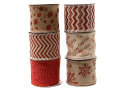 K Jute Ribbon With Design 6Ass Red/Pearl 6.3X270Cm