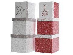 K Pap Giftbox W Xmas Print 2Clas Assortiment Per Stuk 17X17X16Cm