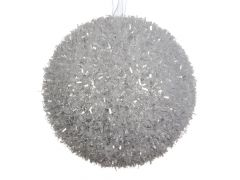 K Foam Bauble Ice With Hanger Silver Dia8Cm