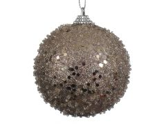K Foam Bauble Glitter Natural Linen Dia8Cm