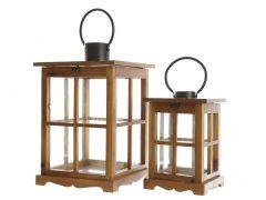 K Firwood Lantern Brown Dia27X42Cm
