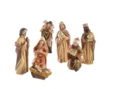 K Poly Nativity Set With 7 Fig Natural/Gold 11.5Cm