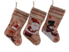 K Cot Stocking W Xmas Fig Assortiment Per Stuk Natural 45Cm