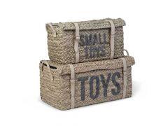 Rattan Basket + Belt Toys+Little Toys Set Of 2