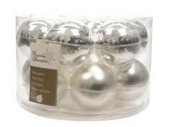 K Kerstbal Glas Glans-Mat Zilver Dia5Cm