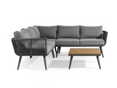 Riga Lounge Hoek Met Tafel Antracite Alu/ Rope/ Polywood Incl Kussens