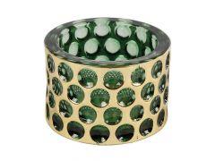 Sfeerlicht Massief Cilinder Glas Bladgoud D8X5.5Cm Groen