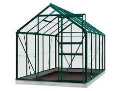Serre Intro Grow - Oliver - 9,9M² Groen Ral6009 Gehard Glas 3Mm - 2,57M X 3,84M X H1,20M/2,23M