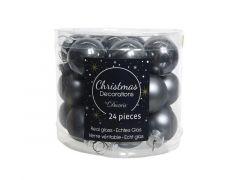 Kerstbal Glas Emaille-Mat Dia2.5Cm Steengrijs