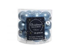 Kerstbal Glas Emaille-Mat Dia2.5Cm Staalblauw