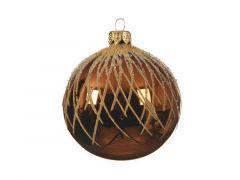 Kerstbal Glas Curved Top Lijn Dia8Cm Roestbruin