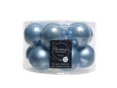 Kerstbal Glas Emaille-Mat Dia5Cm Staalblauw