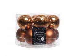 Kerstbal Glas Glans-Mat Dia5Cm Roestbruin