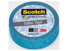 Scotch Expressions Tape Refill Glitter Blauw 15Mmx 5Mm