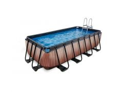 Exit Zwembad Rechthoekig Frame Pool 4X2X1M Premium – Timber Style