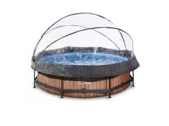 Exit Zwembad Rond Frame Pool D300X76Cm 12V – Timber Style + Overkapping
