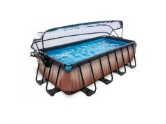 Exit Zwembad Rechthoekig Frame Pool 4X2X1M 12V – Timber Style + Overkapping
