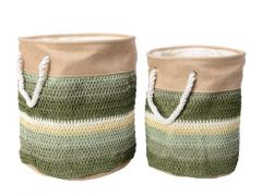 Paper Basket W Handle Round Green Dia30X36Cm