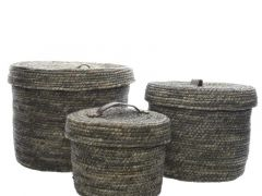 Corn Grass Basket W Handle Grey Dia22X17Cm