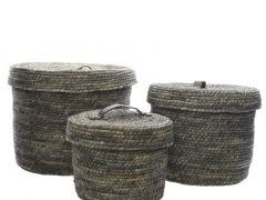 Corn Grass Basket W Handle Grey Dia27X22Cm