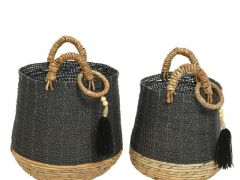 Mixed Raffia Banana Basket Black/Colour(S) Dia41X48Cm