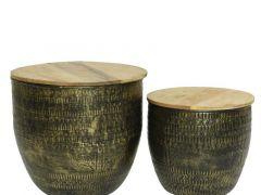 Iron Deco Table W Mango Wood Anthracite 34X32Cm