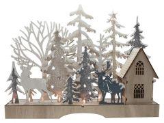 K Kerstdecoratie Vensterbank 9Led Hout 35X6,5X26,5Cm
