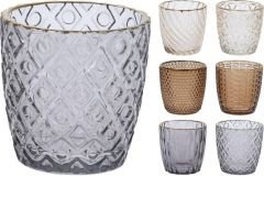 D Theelichthouder Glas, 7X7X7.3Cm, Goudkleurige Rand, Assortiment Per Kleur Per Stuk