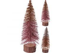 K Kerstboom Glitter, Houten Voet Dia 9X25Cm, 2 Assortiment Prijs Per Stuk Klr