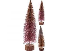 K Kerstboom Glitter, Houten Voet Dia 9.5X35Cm, 2 Assortiment Prijs Per Stuk Klr
