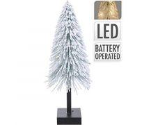K Kerstboom Met Sneeuw En Led, 15X15X40Cm. 10X Led Warm Wit