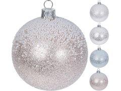 K Kerstbal, 8Cm, Glas, Mondgeblazen Glitter En Sneeuw, 4Sts, 4 Assortiment Prijs Per Stuk